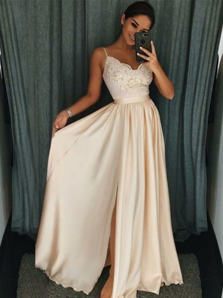 Stylish A-Line/Princess Sleeveless Spaghetti Straps Floor-Length Applique Silk like Satin Dresses