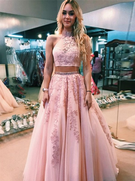 Fashion A-Line/Princess Sleeveless Halter Floor-Length Applique Tulle Two Piece Dresses