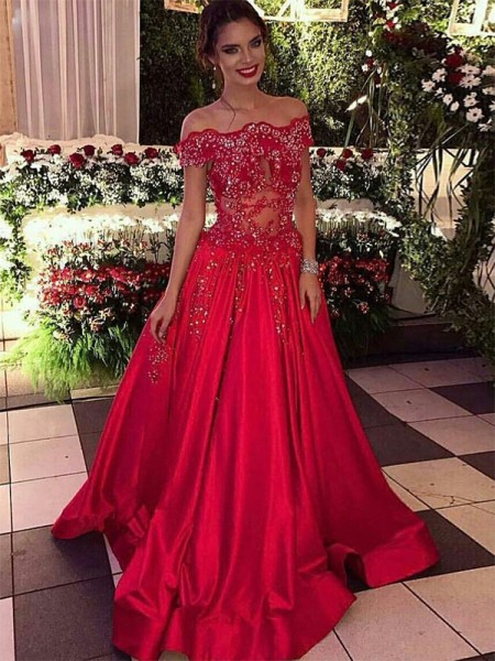 Fashion Ball Gown Off-the-Shoulder Sleeveless Sweep/Brush Train Beading Satin Dresses