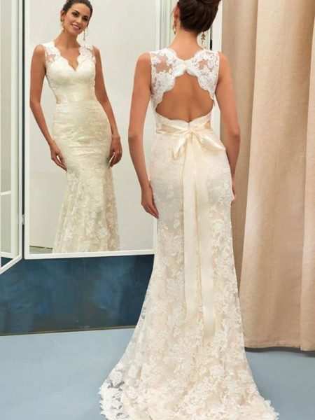 Trumpet/Mermaid Lace Sash/Ribbon/Belt V-neck Sleeveless Sweep/Brush Train Wedding Dresses