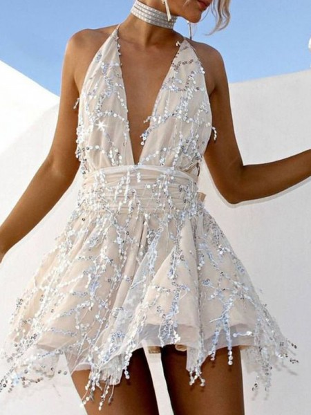 A-Line/Princess Chiffon Beading Halter Sleeveless Short/Mini Homecoming Dresses