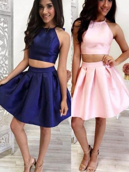 A-Line/Princess Satin Ruffles Halter Sleeveless Short/Mini Two Piece Homecoming Dresses