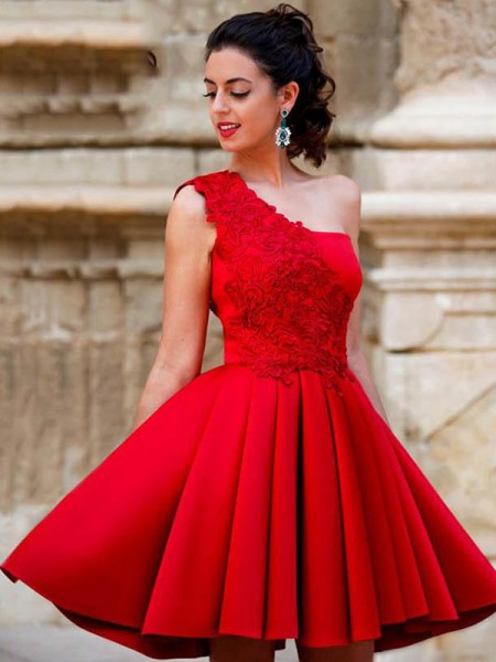 A-Line/Princess Satin Applique One-Shoulder Sleeveless Short/Mini Homecoming Dresses
