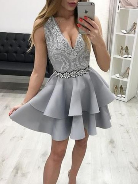 A-Line/Princess Satin Applique V-neck Sleeveless Short/Mini Homecoming Dresses