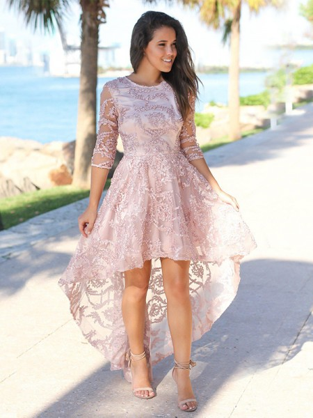 A-Line/Princess Satin Applique Sheer Neck 3/4 Sleeves Asymmetrical Homecoming Dresses