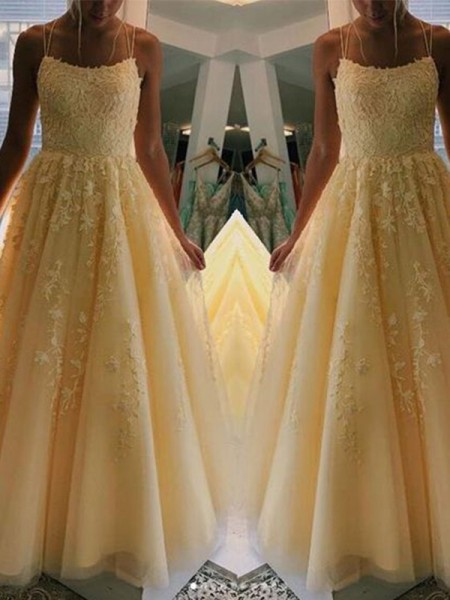 A-Line/Princess Tulle Applique Spaghetti Straps Sleeveless Floor-Length Dresses