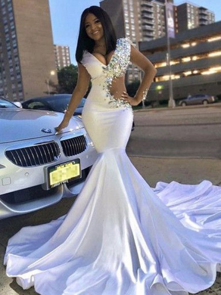 Trumpet/Mermaid Satin Beading V-neck Sleeveless Court Train Dresses