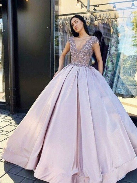 Ball Gown Satin Beading V-neck Short Sleeves Floor-Length Dresses