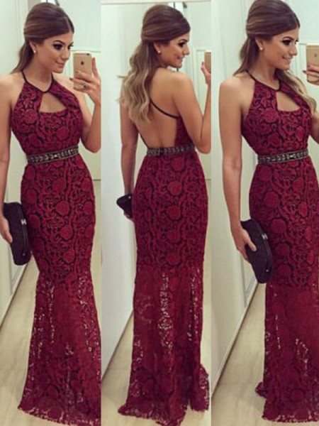 Fashion Sheath/Column Beading Floor-Length Sleeveless Halter Lace Dresses