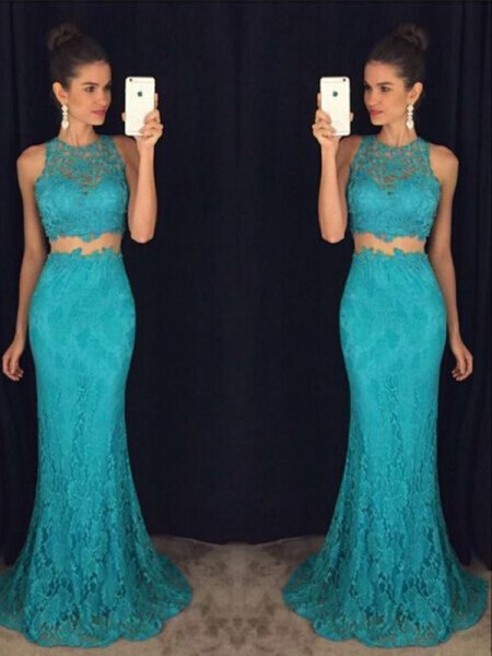 Fashion Sheath/Column Sleeveless Floor-Length Scoop Lace Dresses