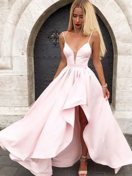 A-Line/Princess Sleeveless V-neck Ruffles Satin Asymmetrical Dresses