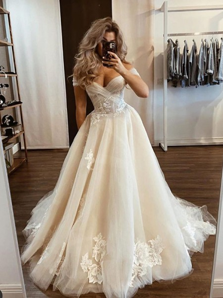 A-Line/Princess Tulle Off-the-Shoulder Applique Sleeveless Sweep/Brush Train Wedding Dresses