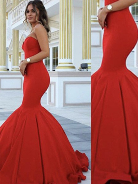 Fashion Trumpet/Mermaid Sleeveless Floor-Length Sweetheart Satin Dresses