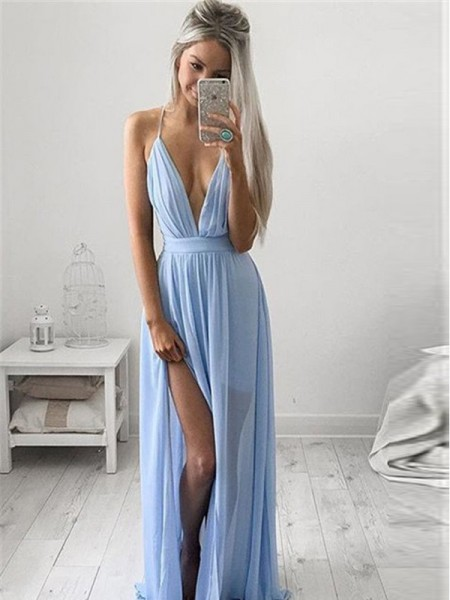 Stylish A-Line/Princess Straps Sleeveless Spaghetti Chiffon Ruched Floor-Length Dresses