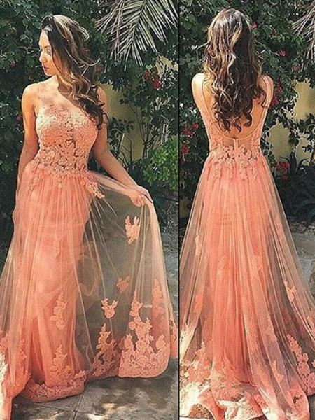 Fashion A-Line/Princess Sleeveless Tulle Straps Sweep/Brush Train Applique Dresses