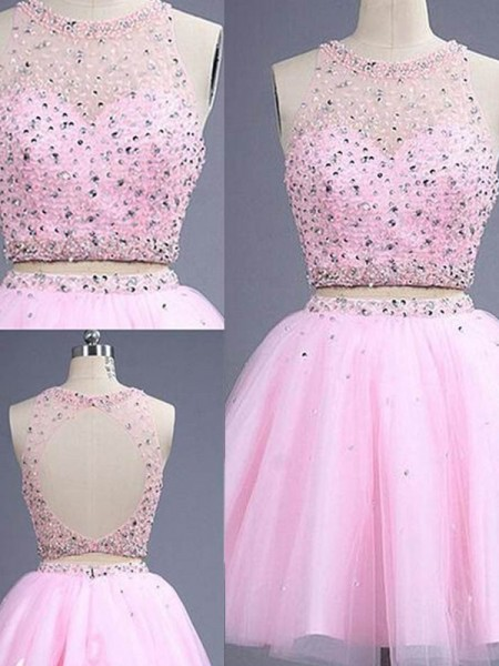 Fashion A-Line/Princess Scoop Short/Mini Sleeveless Beading Tulle Two Piece Dresses