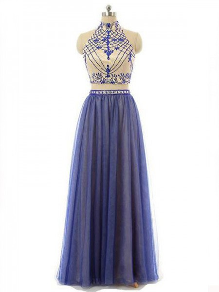 Fashion A-Line/Princess High Neck Chiffon Sleeveless Beading Floor-Length Two Piece Dresses