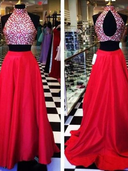 Stylish A-Line/Princess Halter Beading Sleeveless Satin Sweep/Brush Train Two Piece Dresses