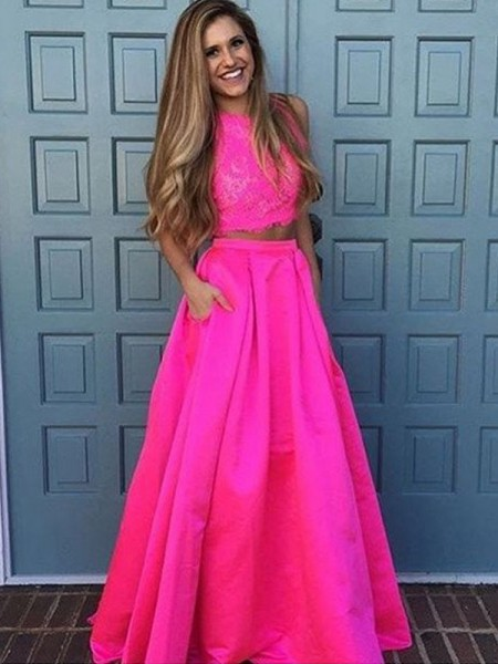 Fashion A-Line/Princess Sleeveless Floor-Length Scoop Lace Satin Two Piece Dresses