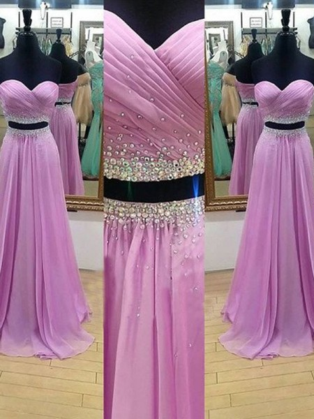 Stylish A-Line/Princess Sleeveless Floor-Length Sweetheart Beading Chiffon Two Piece Dresses