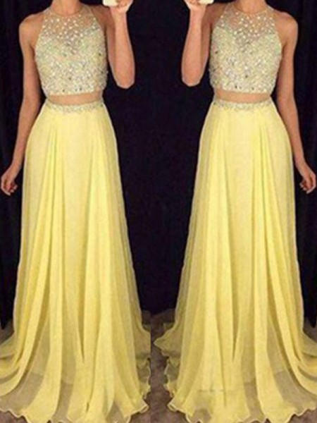 Fashion A-Line/Princess Sleeveless Floor-Length Scoop Beading Chiffon Two Piece Dresses