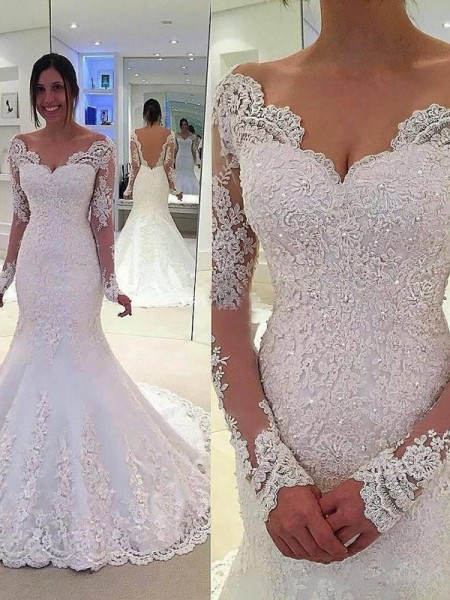 Stylish Trumpet Mermaid Long Sleeves Lace V Neck Court Train Tulle Wedding Dresses