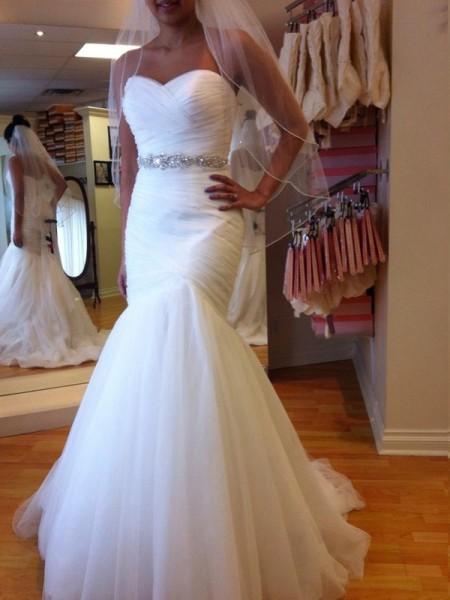 Fashion Trumpet/Mermaid Sweetheart Court Train Sleeveless Beading Tulle Wedding Dresses