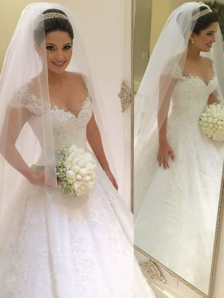Fashion Ball Gown V-neck Beading Sleeveless Floor-Length Tulle Wedding Dresses