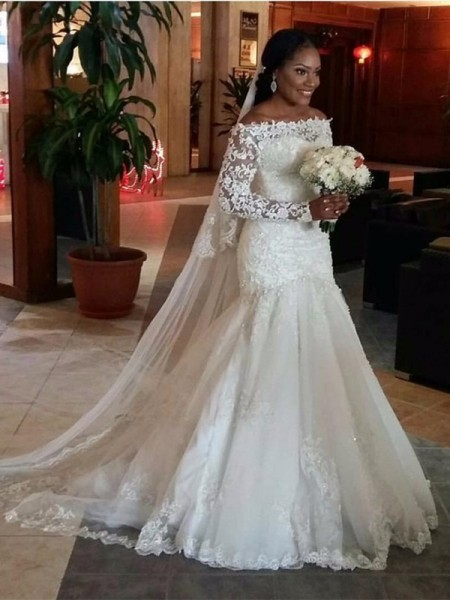 Stylish Trumpet/Mermaid Long Sleeves Lace Off-the-Shoulder Sweep Train Tulle Wedding Dresses