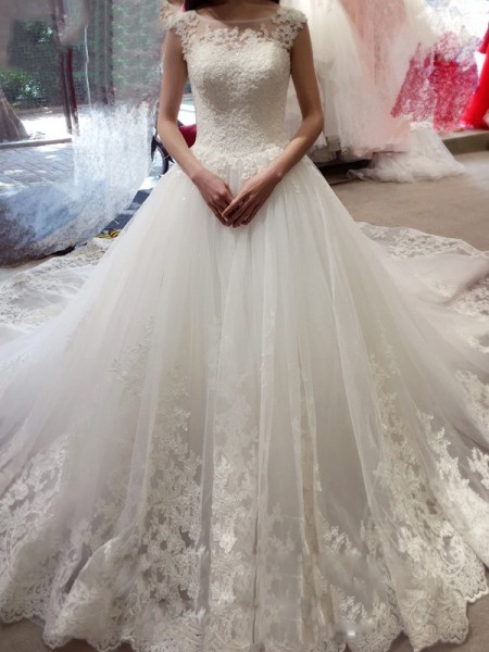 Stylish Ball Gown Bateau Applique Sleeveless Chapel Train Tulle Wedding Dresses