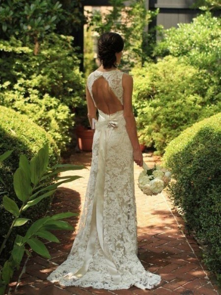 Stylish Sheath/Column Lace V-neck Sleeveless Sweep/Brush Train Wedding Dresses