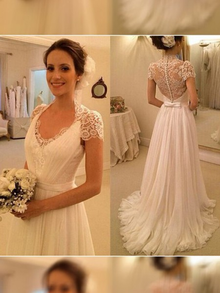 Fashion A-Line/Princess Sweep/Brush Train V-neck Sleeveless Lace Chiffon Wedding Dresses