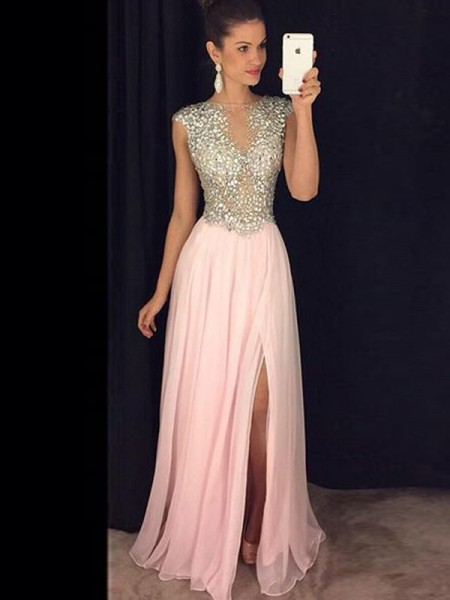 Fashion A-Line/Princess Bateau Chiffon Sleeveless Sequin Floor-Length Dresses