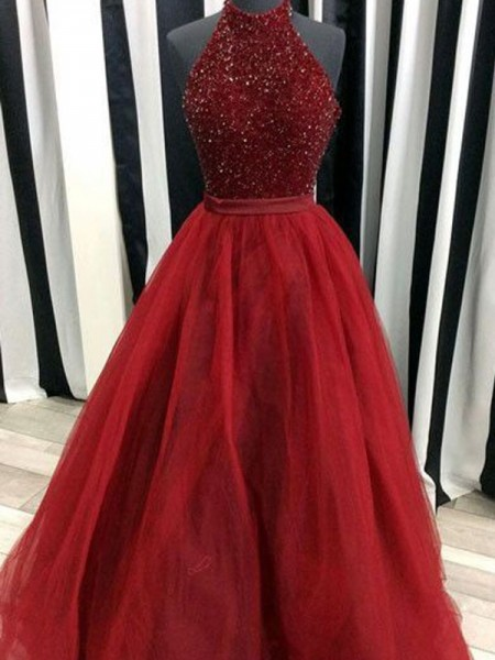 Stylish Ball Gown Sleeveless Floor-Length High Neck Beading Organza Dresses