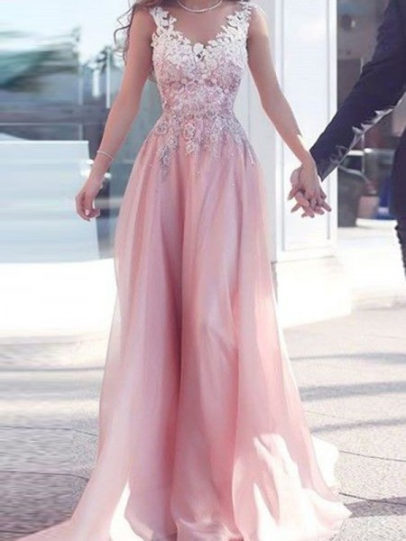Stylish A-Line/Princess Sleeveless Floor-Length Sweetheart Applique Chiffon Dresses