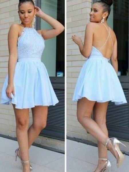Stylish A-Line/Princess Sleeveless Lace Halter Short/Mini Chiffon Dresses