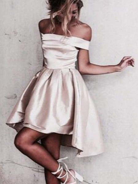Fashion A-Line/Princess Off-the-Shoulder Satin Sleeveless Short/Mini Dresses