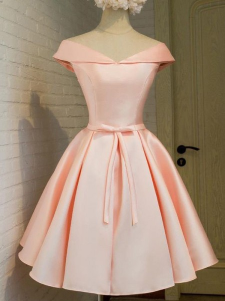 Fashion A-Line/Princess Sleeveless Sash/Ribbon/Belt V-neck Satin Short/Mini Dresses