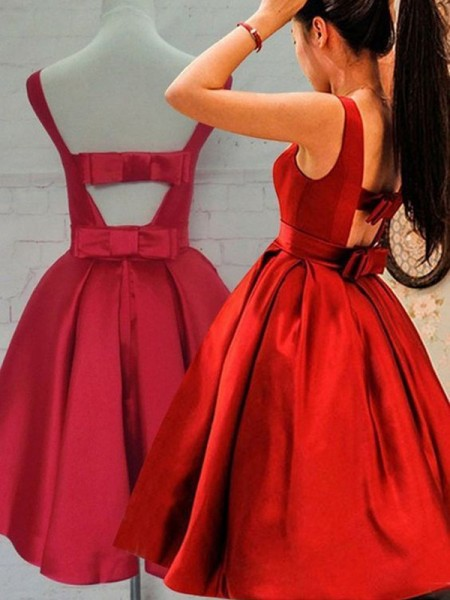 Fashion A-Line/Princess Scoop Sash/Ribbon/Belt Sleeveless Satin Short/Mini Dresses