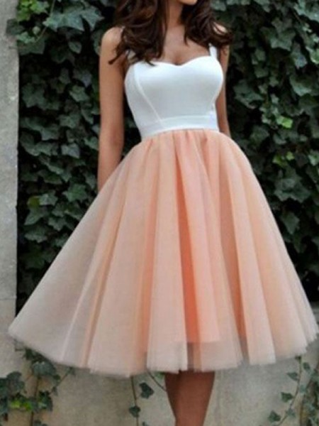 Fashion A-Line/Princess Sweetheart Tulle Sleeveless Short/Mini Dresses