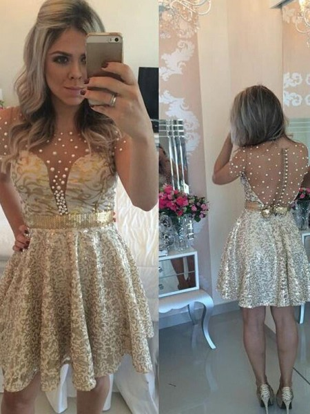 Stylish A-Line/Princess Scoop Sequin Sleeveless Satin Short/Mini Dresses