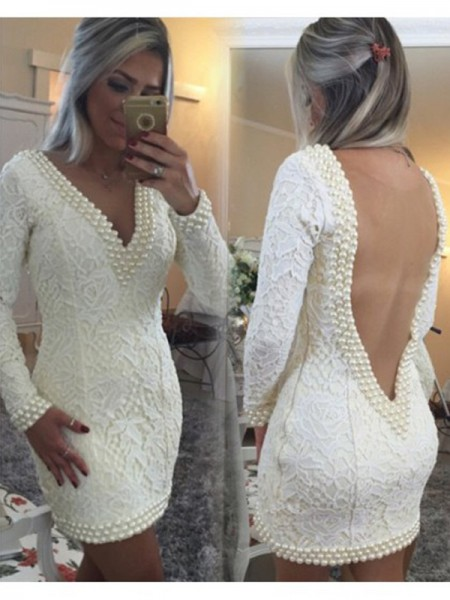Fashion A-Line/Princess V-neck Lace Long Sleeves Pearls Short/Mini Dresses