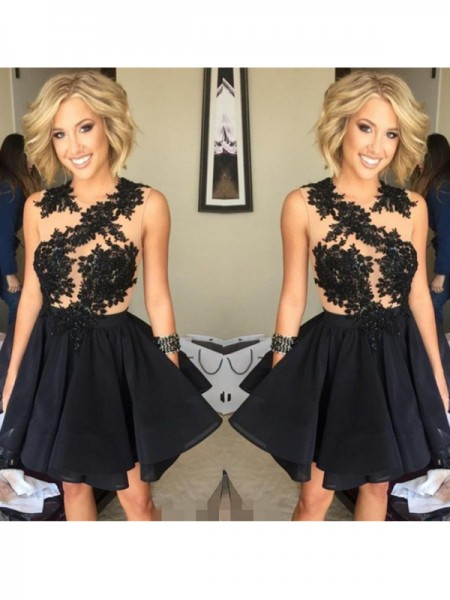 Stylish A-Line/Princess Scoop Lace Sleeveless Chiffon Short/Mini Dresses