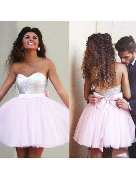 Fashion A-Line/Princess Sweetheart Beading Sleeveless Tulle Short/Mini Dresses
