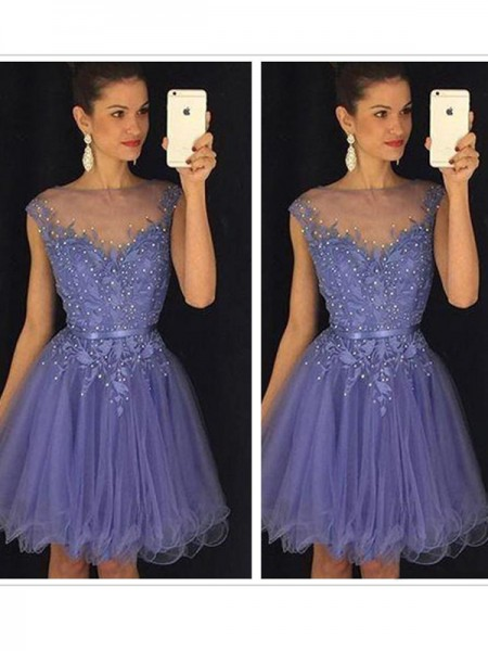 Fashion A-Line/Princess Scoop Applique Sleeveless Tulle Short/Mini Dresses