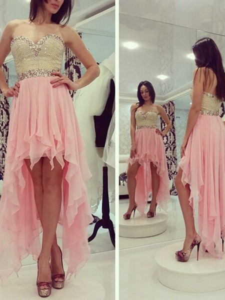 Stylish A-Line/Princess Sweetheart Beading Sleeveless Chiffon Asymmetrical Dresses