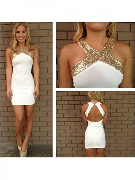 Stylish A-Line/Princess Halter Beading Sleeveless Satin Short/Mini Dresses