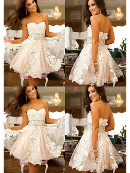 Stylish A-Line/Princess Sweetheart Applique Sleeveless Tulle Short/Mini Dresses
