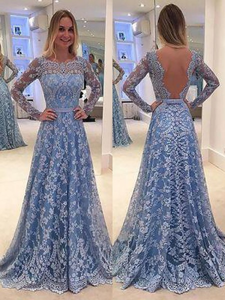 A-Line/Princess Long Sleeves Lace Sweep/Brush Train Bateau Ruffles Dresses