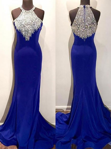 Trumpet/Mermaid Halter Sleeveless Sweep/Brush Train Beading Spandex Dresses